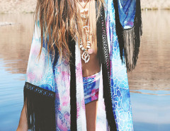 Color Block Graffiti Print Fringed Kimono Choies.com online fashion store United Kingdom Europe