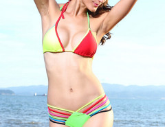Color Block Halter Triangle Bikini Top And Strappy Bottom Choies.com online fashion store United Kingdom Europe