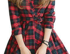 Color Block Plaid Print Wrap Front Belted Shirt Dress Choies.com online fashion store United Kingdom Europe