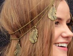 Copper Leaf Drop Hair Crown Choies.com online fashion store United Kingdom Europe