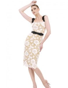 Cream Lace Dress with Contrasting Belt and Straps Carnet de Mode online fashion store Europe France