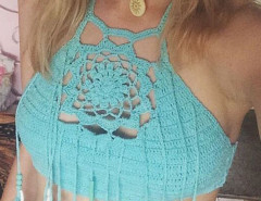 Cyan Halter Crochet Bead Tasseled Crop Top Choies.com online fashion store United Kingdom Europe