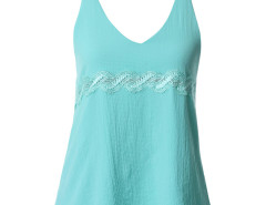 Cyan Lace Detail Double Strap Backless Vest Choies.com online fashion store United Kingdom Europe