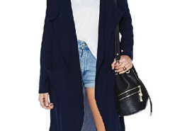 Dark Blue Lapel Long Sleeve Pocket Detail Longline Coat Choies.com online fashion store United Kingdom Europe