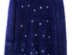 Dark Blue Star Print Long Sleeve Fluffy Sweater Choies.com online fashion store United Kingdom Europe