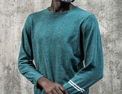 Dark Cyan Stripe Sleeve Plain Jumper Choies.com online fashion store United Kingdom Europe