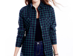 Dark Green Contrast Plaid Print Belt Waist Longline Shirt Choies.com online fashion store United Kingdom Europe