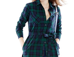 Dark Green Massive Plaid Print Belt Waist Longline Shirt Choies.com online fashion store United Kingdom Europe