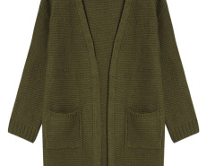 Dark Green Pocket Detail Long Sleeve Longline Knit Cardigan Choies.com online fashion store United Kingdom Europe