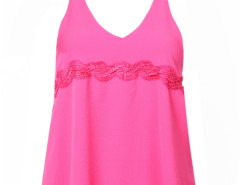 Deep Pink Lace Detail Double Strap Backless Vest Choies.com online fashion store United Kingdom Europe