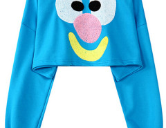 Deep Sky Blue Clown Face Embroidery Crop Top Choies.com online fashion store United Kingdom Europe