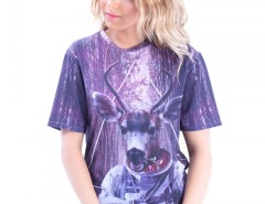Deer Printed Polyester Tshirt Carnet de Mode online fashion store Europe France