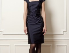 Drape dress - silk taffeta - blue Carnet de Mode online fashion store Europe France
