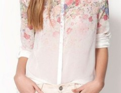 Dream Flower Print High-Low Shirt OASAP online fashion store China
