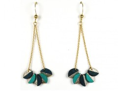 Earrings - leather leaves - turquoise & duck green Carnet de Mode online fashion store Europe France