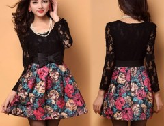 Elegant Women's Ladies Painting flowers Pattern Lace Splicing Dress With Belt Cndirect online fashion store China