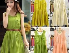 Elegant Women's Sundress Double Pocket Pleated Dress with Belt 4Colors Cndirect online fashion store China