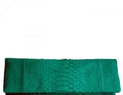 Emerald Python Leather Clutch - Essentiel Carnet de Mode online fashion store Europe France