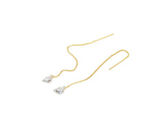 Fang Chain Earrings. White Gold and Yellow Gold Chains. MrKate.com online fashion store USA