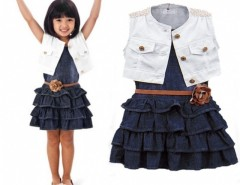 Fashion Baby Girl Kids Outfit Clothes Coat + Dress 2 Piece Set with Belt Cndirect online fashion store China