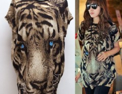Fashion Women Casual Round Neck Tiger Pattern Batwing Sleeve T-Shirt Blouse Tops Cndirect online fashion store China