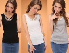 Fashion Women Sexy Round Neck Metal Wings Slim Vest Tank Tops T-shirt Cndirect online fashion store China