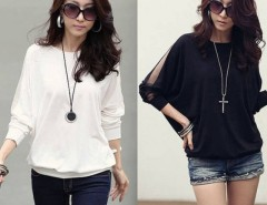 Fashion Women's Long Sleeve Loose T-Shirt Batwing Tops Blouses Size S