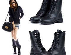 Fashion Women's Cool Black PUNK Military Army Knight Lace-up Short Boots Shoes Cndirect online fashion store China