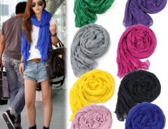 Fashion Women's Long Crinkle Scarf Wraps Soft Shawl Stole Pure Color 8 Colors Hot sales Cndirect online fashion store China