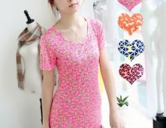 Fashion Women's Round Neck Short Sleeve Slim Blouse Top Long T-Shirt Cndirect online fashion store China