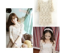 FashionVintage Style Summer Women See Through Crochet Lace Sexy T-shirt Cndirect online fashion store China