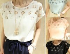 Flowers Hollow Loose Batwing Sleeve Round Neck Chiffon T-Shirt Women Top Cndirect online fashion store China