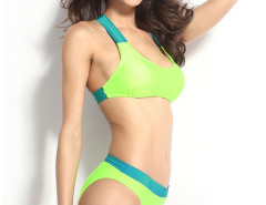 Fluorescence Green Contrast Cut Out Back Bikini Top And Bottom Choies.com online fashion store United Kingdom Europe