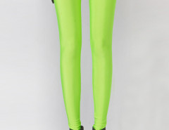 Fluorescent Green High Waist Stretchy Leggings Choies.com online fashion store United Kingdom Europe