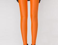Fluorescent Orange High Waist Stretchy Leggings Choies.com online fashion store United Kingdom Europe