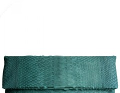 Forest Green Python Leather Clutch - Essentiel Carnet de Mode online fashion store Europe France