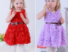 Girls Kid Summer Three-dimensional Flower Princess Big Bow Belt Dress Cndirect online fashion store China