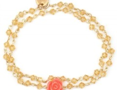 Gold Bracelet with a Coral Rose Charm Emma Carnet de Mode online fashion store Europe France