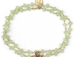 Gold Plated Bracelet with Shamrock Charm and Green Pearls Noémie Carnet de Mode online fashion store Europe France
