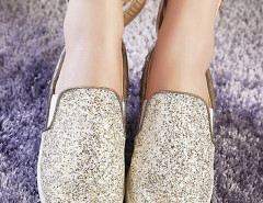 Gold Sequined Rivet Rabbit Ear Decorated Loafers Choies.com online fashion store United Kingdom Europe