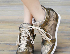 Gold Snake Effect Lace Up Sneakers Choies.com online fashion store United Kingdom Europe