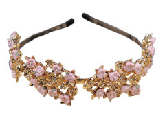 Golden And Pink Floral Rhinestone Detail Hairband Choies.com online fashion store United Kingdom Europe