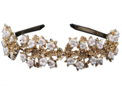 Golden And White Floral Rhinestone Detail Hairband Choies.com online fashion store United Kingdom Europe