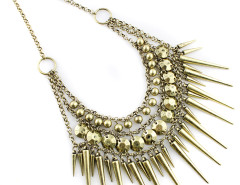 Golden Bohemia Stud And Bead Chain Statement Necklace Choies.com online fashion store United Kingdom Europe