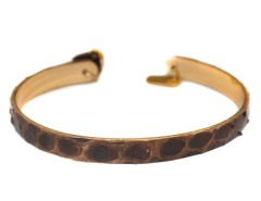 Golden Brass Bracelet in Genuine Python - JONC FEZ Carnet de Mode online fashion store Europe France