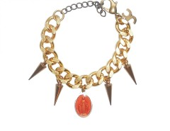 Golden Brass Bracelet with Spikes and an Orange Charm LADYLAND J Carnet de Mode online fashion store Europe France
