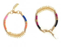 Golden Brass and Multicolored Cord Sparks & Bloom Bracelets Carnet de Mode online fashion store Europe France