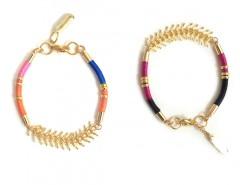 Golden Brass and Multicolored Cord Sparks & Bloom Bracelets Carnet de Mode online fashion store Europe France