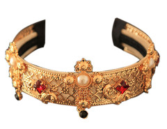 Golden Cross Pearl And Rhinestone Detail Hairband Choies.com online fashion store United Kingdom Europe