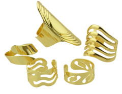 Golden Cut Out Open Ring Pack Choies.com online fashion store United Kingdom Europe